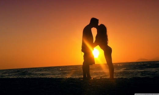 Sunset Kiss with your happy wife